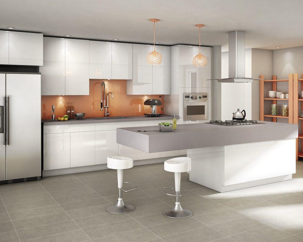 Cocina abierta moderna en blanco y gris im genes y fotos for Cocinas espectaculares modernas