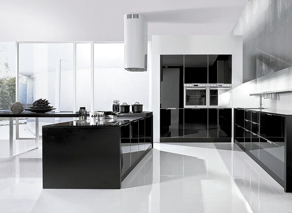 Cocina americana en blanco y negro im genes y fotos - Cocinas lacadas en blanco ...