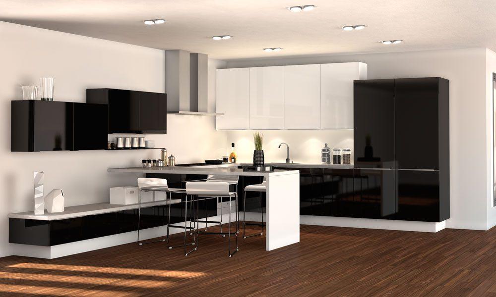 cocinas moderna en blanco y negro