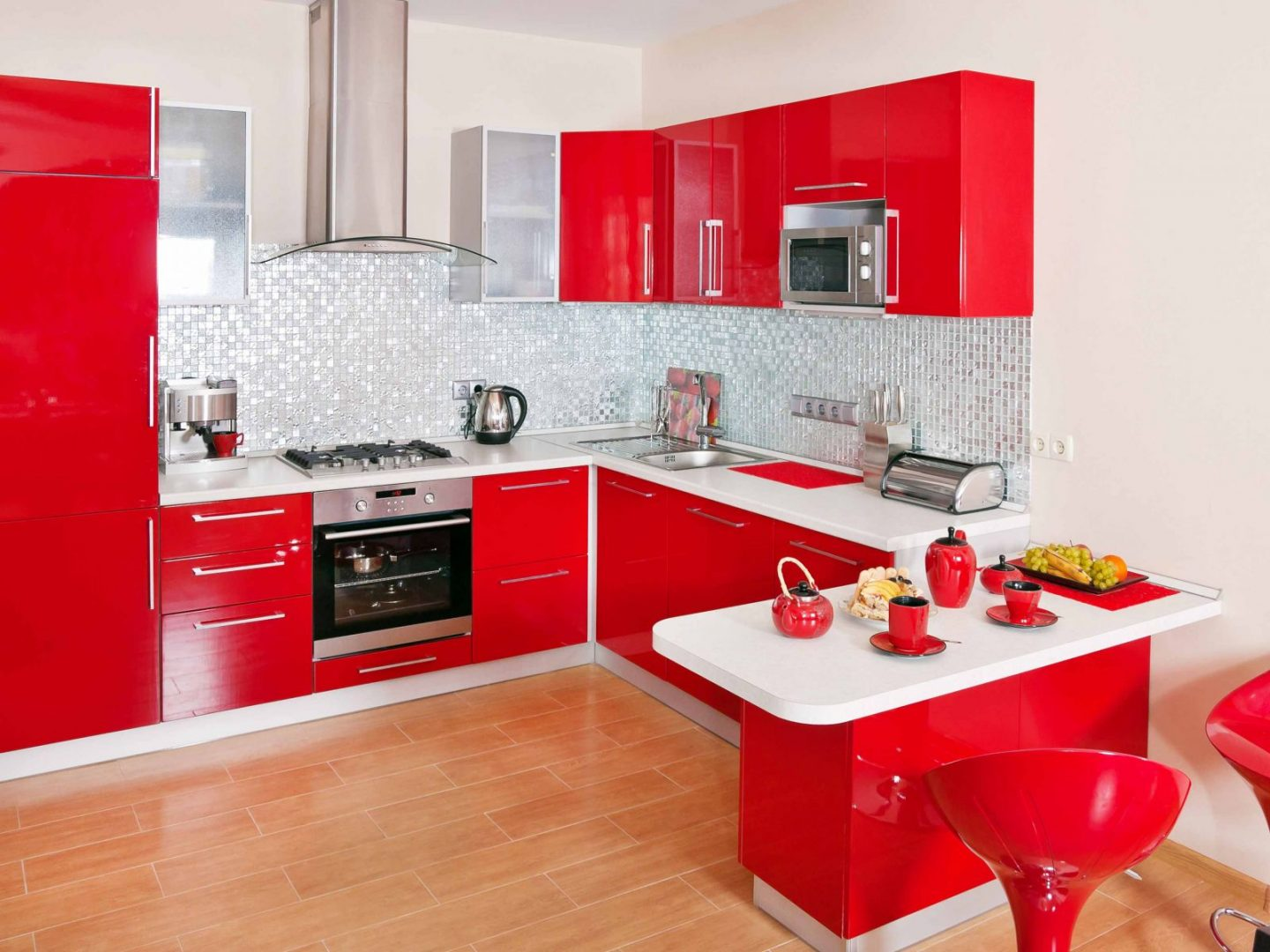 C mo elegir el color de la cocina for Red kitchen designs photo gallery