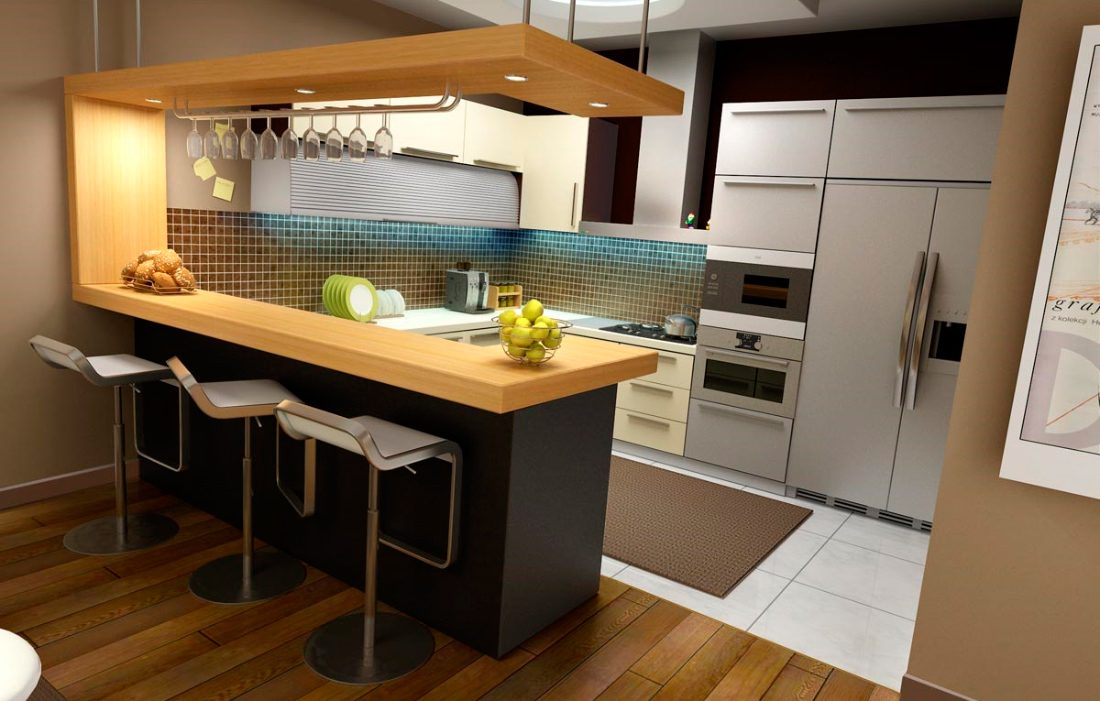Decoraci n de cocinas americanas im genes y fotos for Kitchen with mini bar design