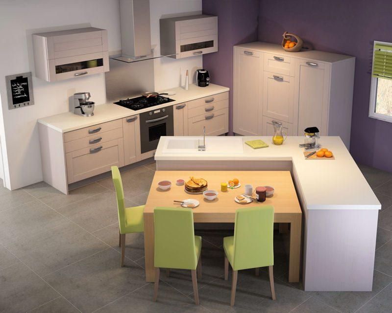 Isla central con mesa de cocina auxiliar im genes y fotos for Cocina comedor con isla