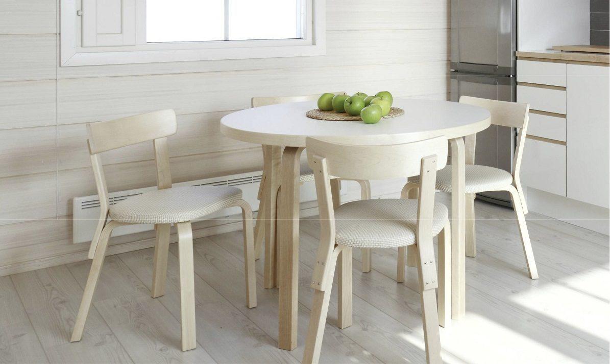 Mesa de cocina de madera blanca im genes y fotos for Mesas de salon blancas