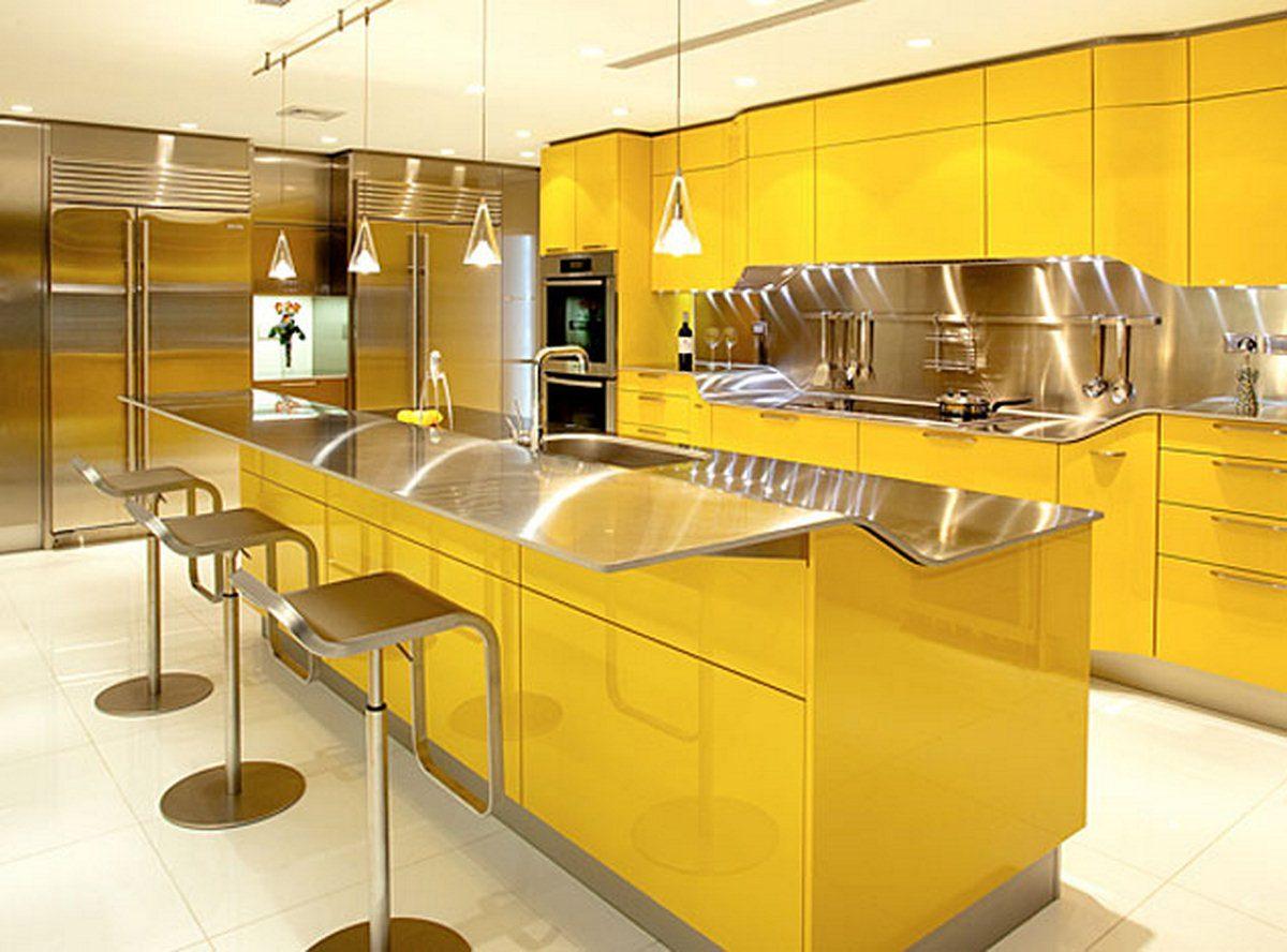 Cortinas de la cocina de color amarillo y gris - Tonos Amarillos En La Cocina