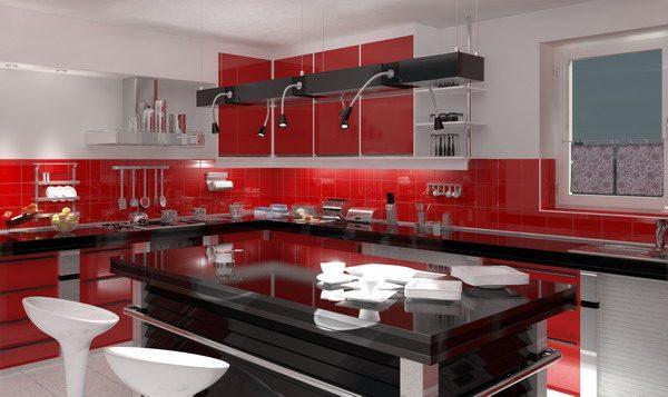 Tonos rojos en la cocina im genes y fotos for Revestimientos para cocinas modernas argentina